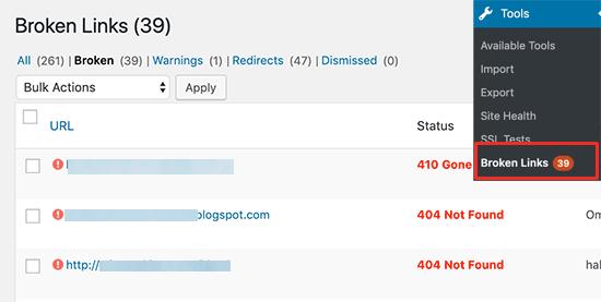 使用Broken Link Checker插件在WordPress中查找死链