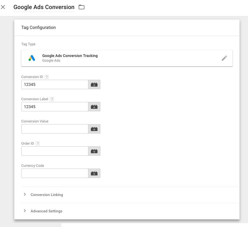 复制转化ID和转化标签到Google跟踪代码管理器相应的字段中